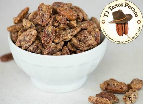 TJ Texas Pecans Cinnamon sugar coated west Texas Pecans - 6 ounce resealable bag.