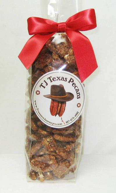 Cinnamon Sugar Candied TJ Texas Pecans in gift bag