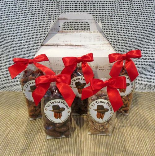 TJ Texas Pecans 5 Flavor Variety Gift Basket Box