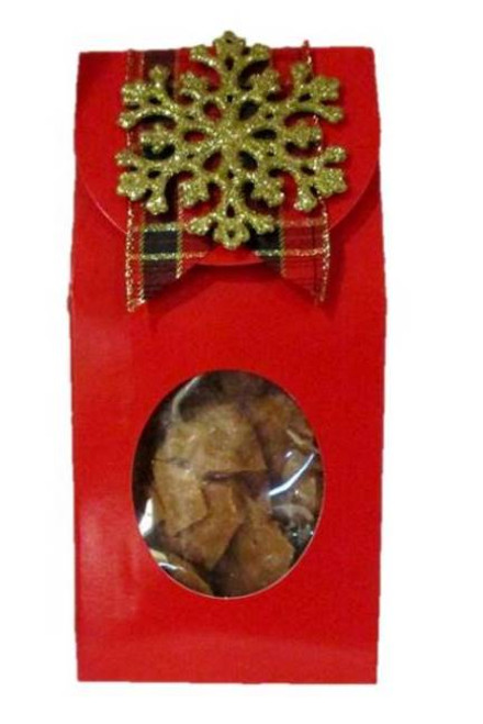 Pecan Brittle Red Gift Box w Gold Snowflake Ornament
