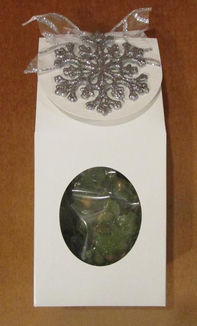 Jalapeno Peanut Brittle in Festive White Gift Box w Silver Snowflake Ornament