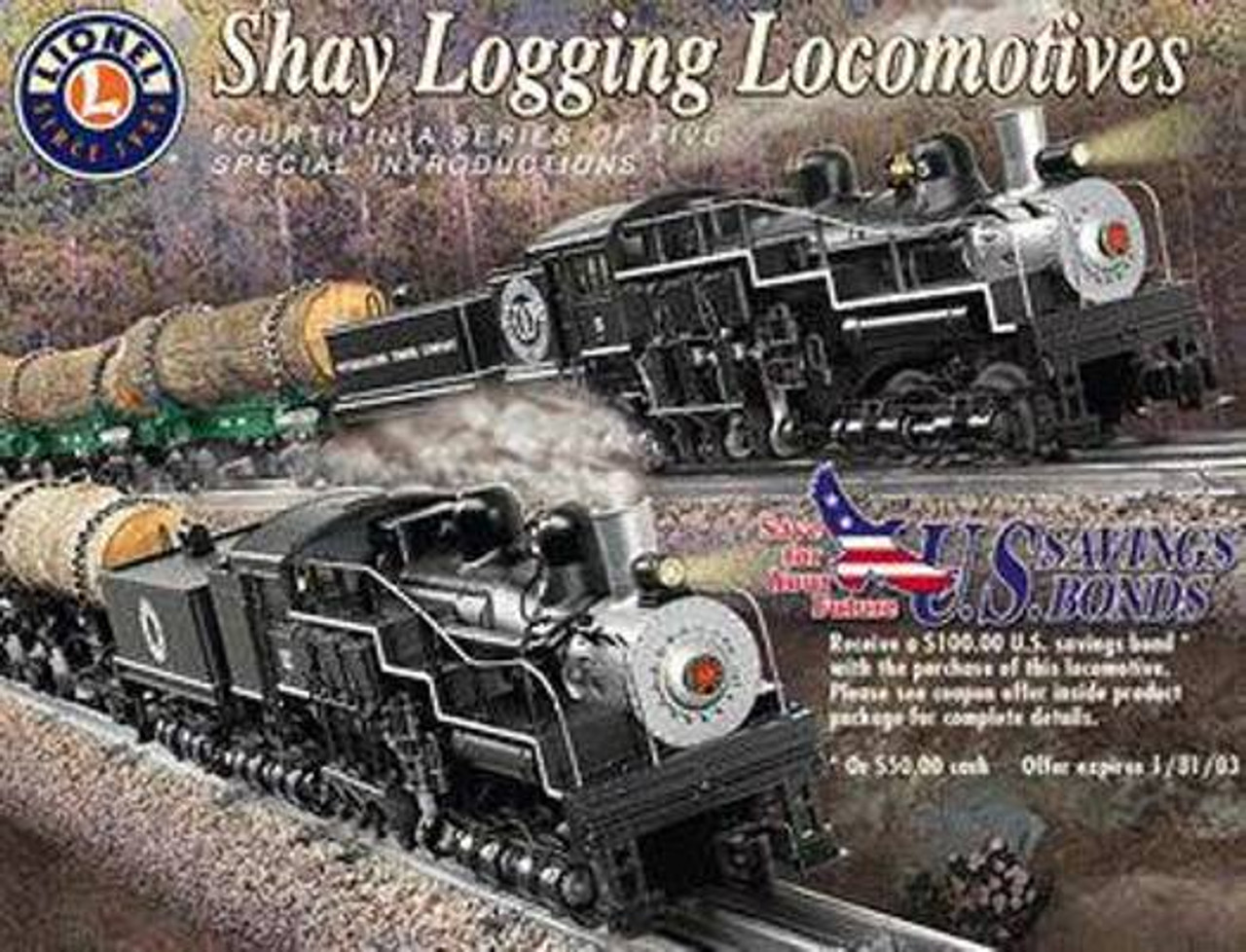 Lionel Trains 6-38057 Weyerhaeuser Timber Company TMMC 3-Truck Shay  Locomotive #15 O Scale