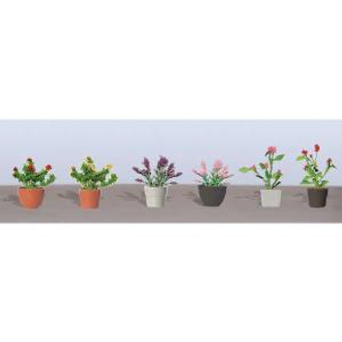 JTT Scenery Products 95565 HO Flower Plants Potted Assortment #1 6 pack