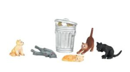 Bachmann 33157 O Cats w/Garbage Cans 6 piece