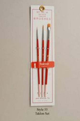 Atlas Brush 55 3pc 10/0 #0 #1 Taklon Brush Set