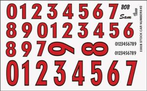 Gofer 11018 1/25 Numbers Red w/Black Outline Decal