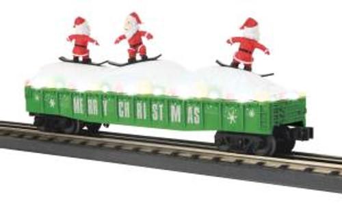 MTH Trains 30-72195 O Scale Christmas Gondola w/LED Lights & Skiing Santa