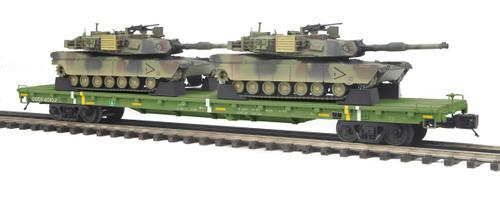 MTH Trains 20-95346 O Scale US Army Flatcar w/M1Aa Abrams Tanks #40102