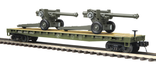 MTH Trains 20-95347 O Scale US Army Flatcar w/105mm Howitzers #609042