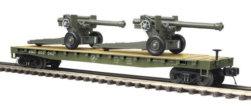 MTH Trains 20-95347 O Scale US Army Flatcar w/105mm Howitzers #609042