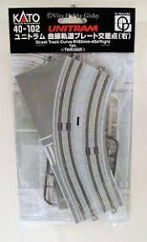 Kato Trains 40102 N Scale UNITRAM R180-45 RH Curve Street Track 1 piece