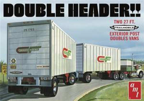 AMT Model Kits 1132 1/25 Double Header Tandem Van Trailers Skill 3