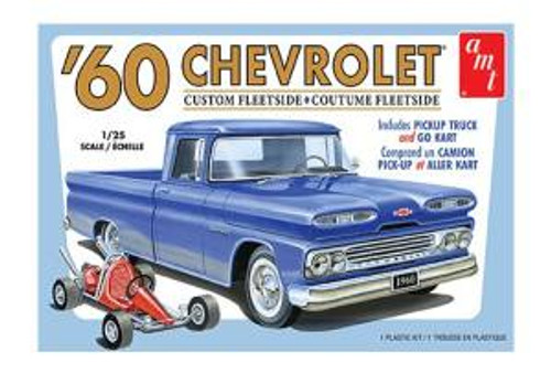 AMT Model Kits 1063 1/25 1960 Chevy Custom Fleetside Pickup w/Go Kart 2T Skill 2