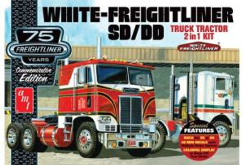 AMT Model Kits 1046 1/25 White Freightliner 2-in-1 SC DD Cabover Tractor