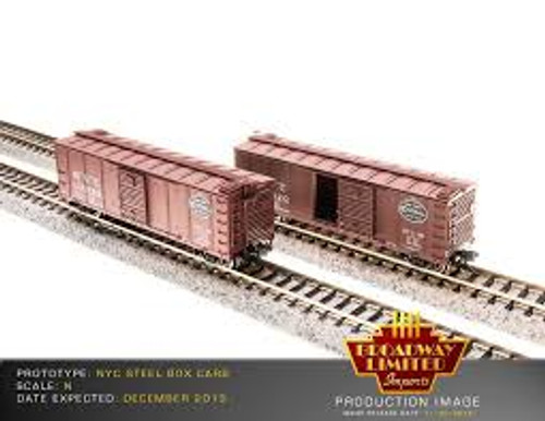 Broadway Limited Imports 3661 N Scale Steel Boxcar 4 pack NYC w/Dreadnaught Ends Post 1955 Gothic