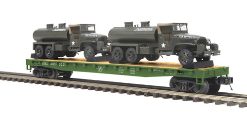 MTH Trains 20-95399 US Army Flat Car With GMC 353 6x6 Tank Truck O Scale