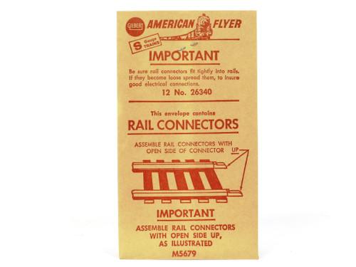 American Flyer S Gauge Trains 26340 Pikemaster Rail Connectors Envelope of 12