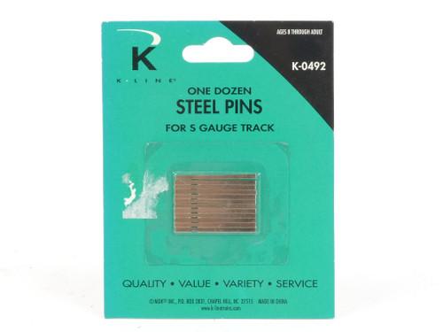 K-Line Trains K-0492 Steel Pins for S Gauge Track 12 Pack