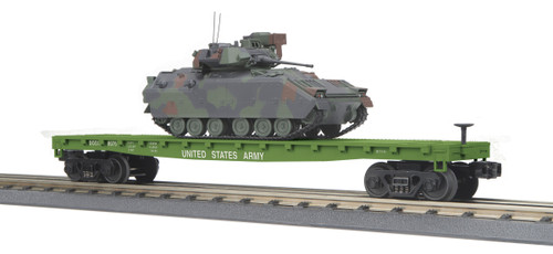 MTH Trains 30-76807 US Army Flat Car With Bradley Fighting Vehicle O Gauge