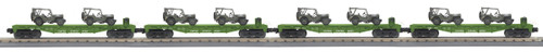 MTH RailKing Trains 30-70109 US Army 4-Car Flat Car Set With Jeeps O Gauge