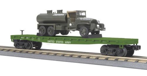 MTH RailKing Trains 30-76777 US Army Flat Car With 6x6 Tank Truck O Gauge