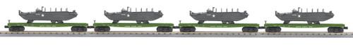 MTH RailKing Trains 30-70105 US Army 4-Car Flat Car Set With GMC DUKW 353