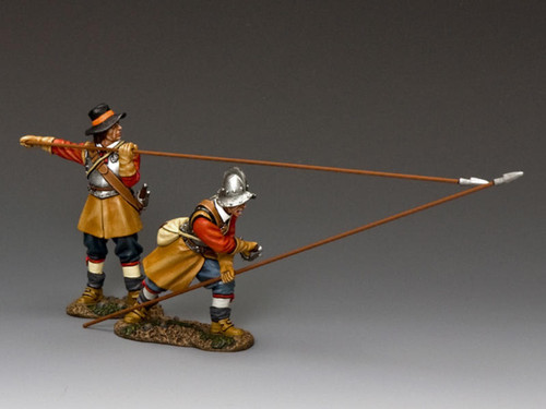 King & Country PnM-S01 Pike And Musket Crouching Pikeman Plus Present Pikeman