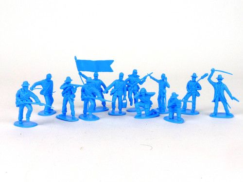 TATS 54mm Plastic Confederate Artillery Toy Soldiers Figures Light Blue