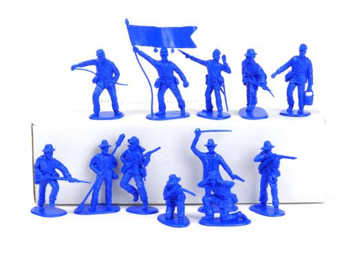 TATS 54mm Civil War Confederate Artillery Crew Plastic Toy Soldiers Figures Blue