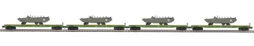 MTH Trains 20-92215 US Army 4-Car Flat Car Set With GMC DUKW 353 O Scale