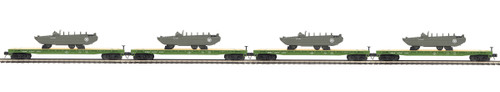 MTH Trains 20-92216 US Army 4-Car Flat Car Set With GMC DUKW 353 O Scale