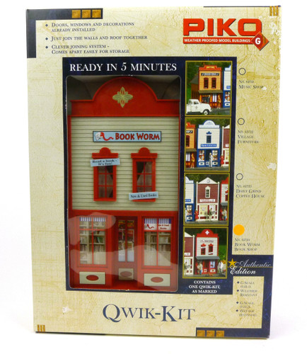 Piko 62724 Qwik Kit Book Worm Book Shop Building Kit G Scale Trains