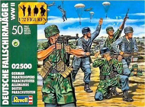 Revell 02500 WWII German Paratroopers 50 Pieces 1/72 Scale Plastic Model Kit