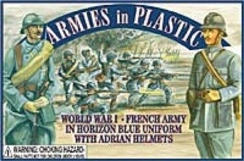 Armies In Plastic 5403 WWI French Army In Horizon Blue Uniforms Adrian Helmets