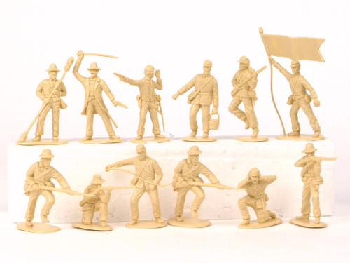 TATS 54mm Plastic Confederate Artillery Crew Toy Soldiers Figures Beige