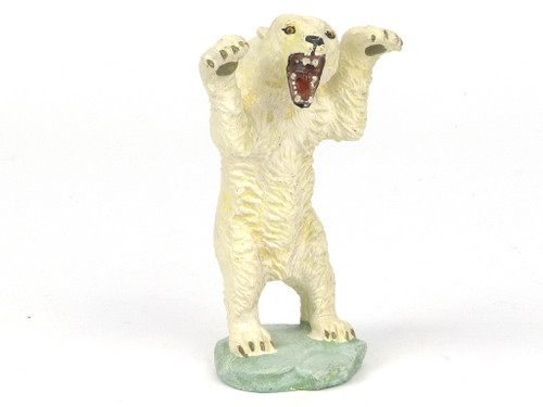 Elastolin Vintage Historical Toy Figures Standing Roaring Polar Bear Rare 120mm Composition