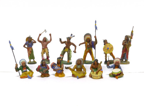 Elastolin Historical Collection Indian Figures Group of 12 Figures 70MM