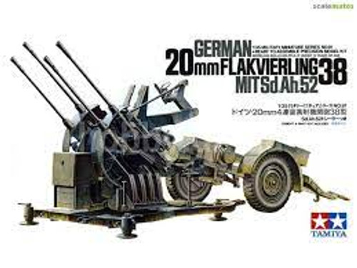 Tamiya Military Miniatures 1/35 Scale German 20mm Flakvierling 38 Model Kit 35091