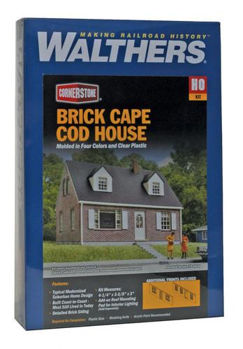Walthers Cornerstone 933-3774 Brick Cape Cod House HO Scale Building Kit