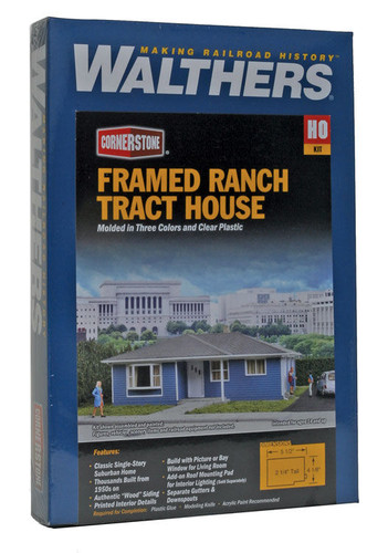 Walthers Cornerstone 933-3775 Framed Ranch Tract House HO Scale Building Kit