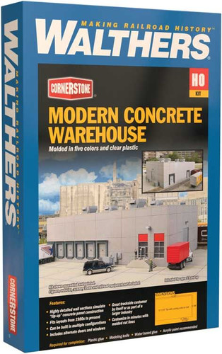 Walthers Cornerstone 933-4068 Modern Concrete Warehouse HO Scale Building Kit