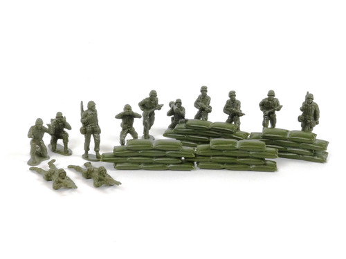 New-Ray Plastic Toy Soldier Set 12 Soldiers with Sand Bag Bunker