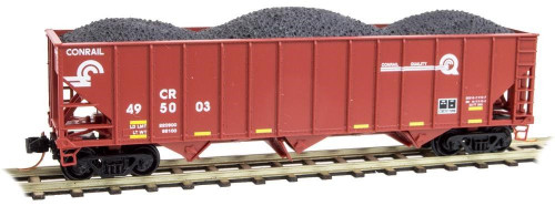 Micro-Trains Line N Scale Conrail Hopper With Coal Load Freight Cars 10800321