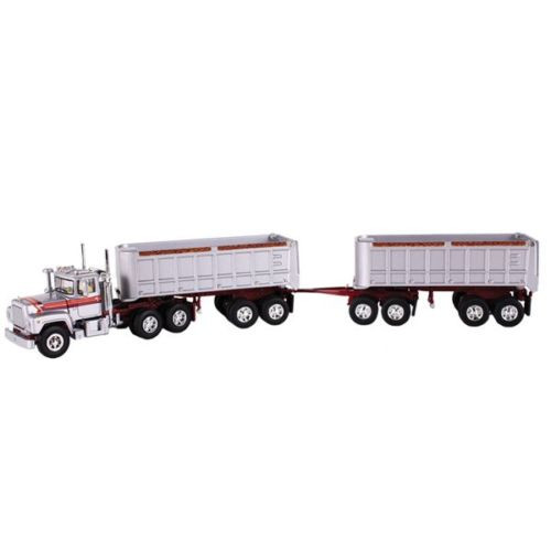 First Gear 60-0269 Mack R Model With Duel End Dump Trailers 1/64 Scale Diecast