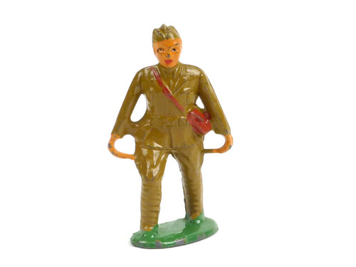 Barclay Toy Soldiers 759, WWII soldier with cap carrying stretcher