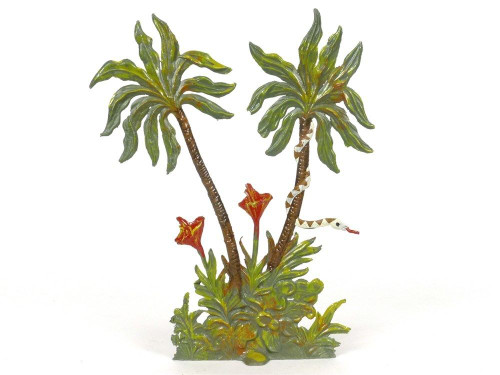 Hornung Miniatures Double Palm Tree White And Brown Snake 6SP Metal Cast Scenery