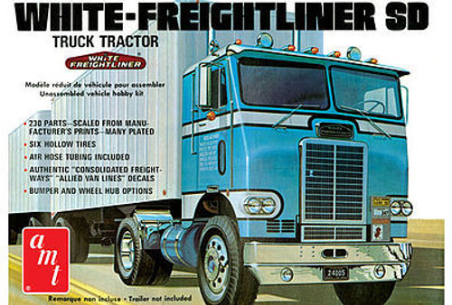AMT Plastic Models 1004 White Freightliner Single Drive Truck Tractor 1/25 Scale