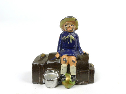 Johillco Toy Soldiers Railroad Child sitting on luggage #239
