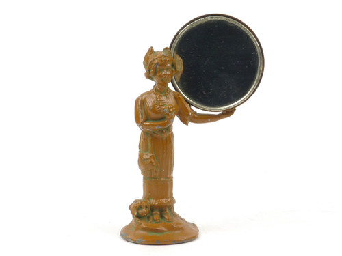 German Heyde Nippet Souvenir Desk Accessory Figure Standing Holding Mirror