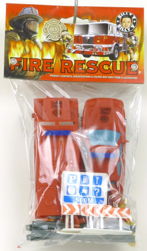 Billy V Toys Fire Rescue Small Bag of Plastic Fire Fighters, Ambulance and Rescue Helicopter